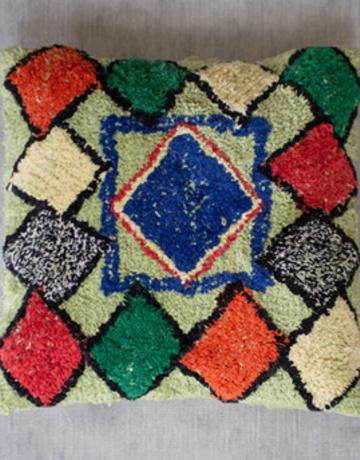 Kalalou Shag Pillow with Multi-Colored Diamonds