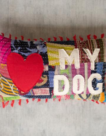"""Kalalou Kantha """"Love ♥ My Dog"""" Pillow"""
