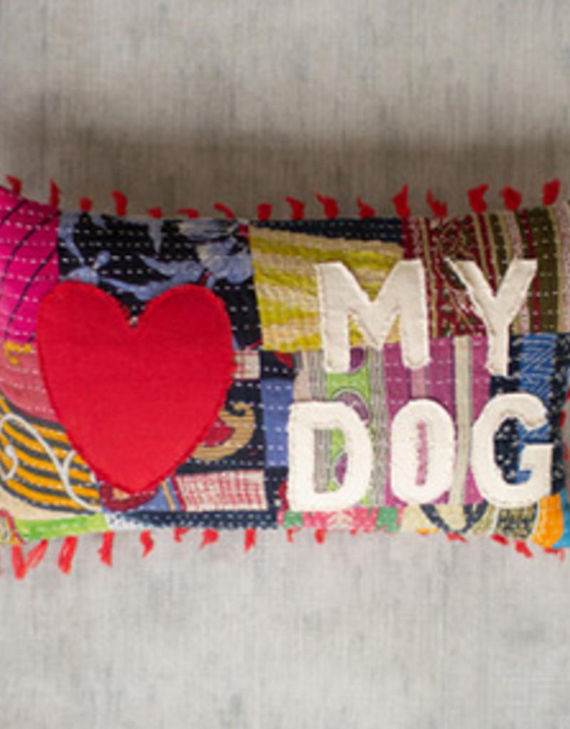 """Kalalou Kalalou Kantha """"Love ♥ My Dog"""" Pillow"""