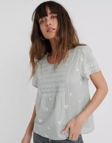 Lucky Brand Clothing Lucky Brand Smocked Embroidered Top