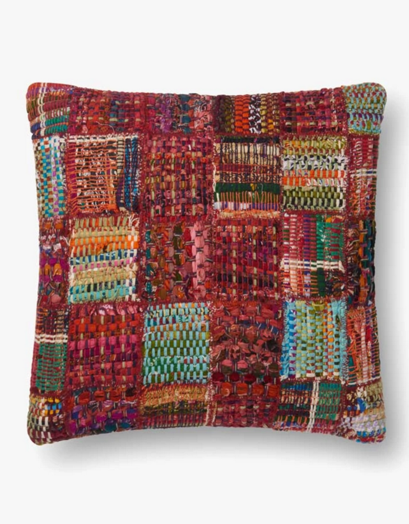 Loloi Rugs Loloi Multicolored Patchwork Red Pillow