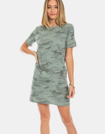 Dylan / True Grit Dylan Camo Chic Tee Dress Sage