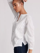 Lucky Brand Clothing Lucky Brand 3/4 Sleeve Embroidered Top