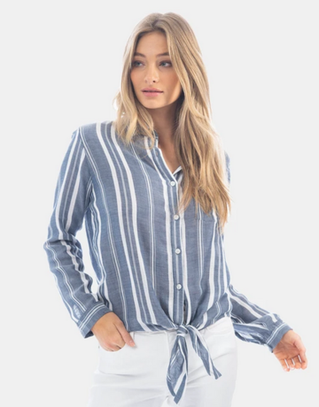 Dylan / True Grit Dylan Friendly Woven Stripe Tie Top