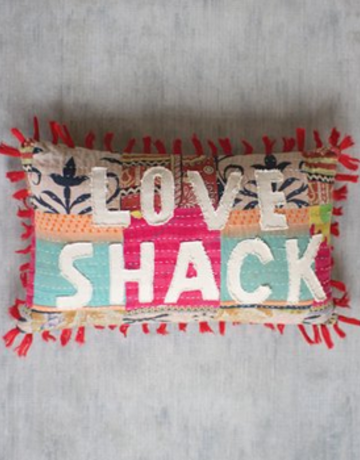 "Kalalou Kalalou Kantha ""Love Shack"" Pillow"