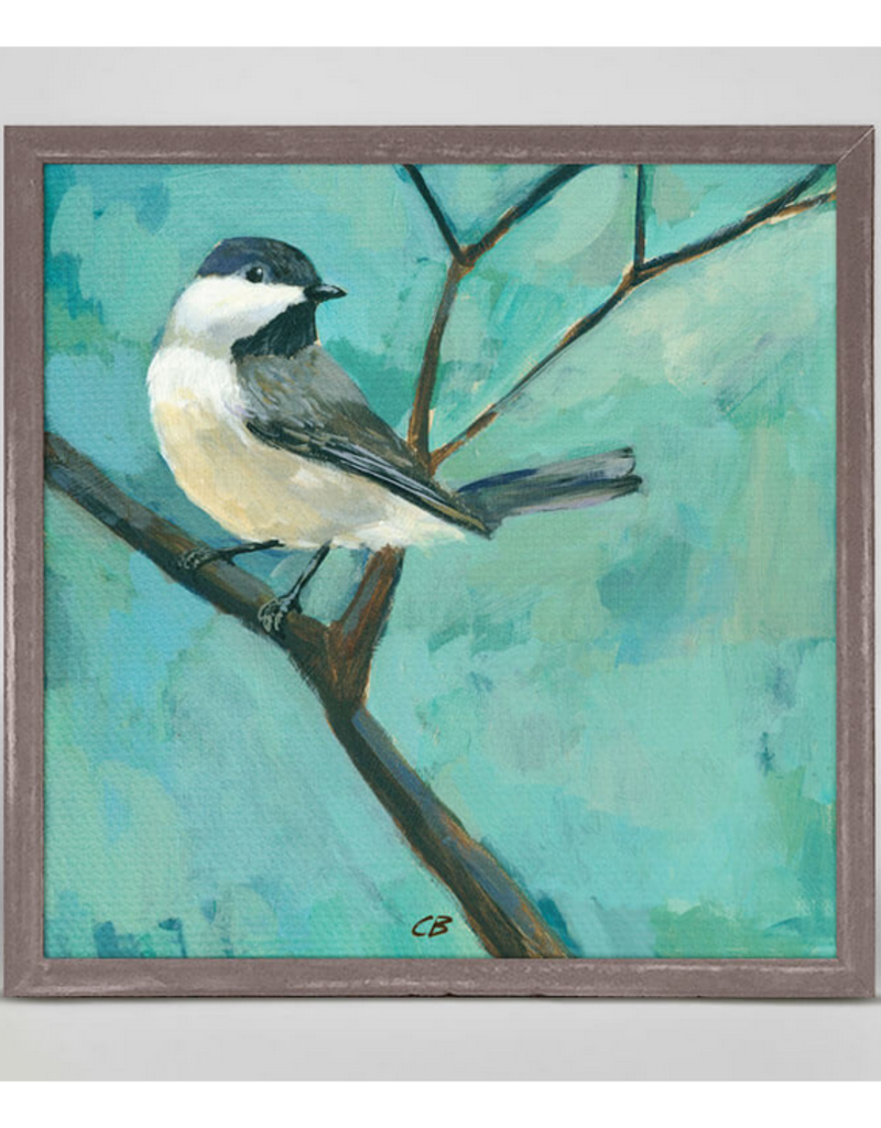 Greenbox Art Chickadee on a Branch Mini Framed Art 6x6