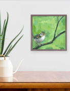 Greenbox Art Sparrow on Green Mini Framed Art 6x6