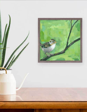 Greenbox Art Sparrow on Green Mini Framed Art 6x6