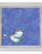 Greenbox Art Sparrow on Periwinkle Mini Framed Art 6x6