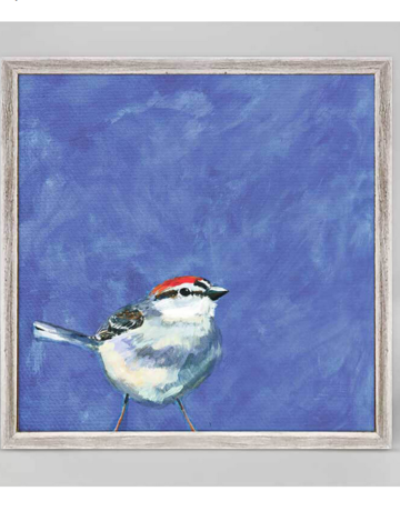 Greenbox Art Sparrow on Periwinkle Mini Framed Art 6x6