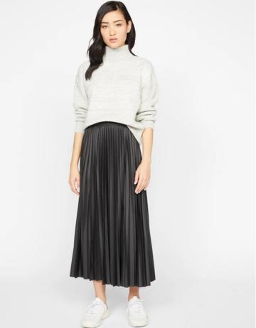 Sanctuary Vegan Leather Pleated Midi Skirt