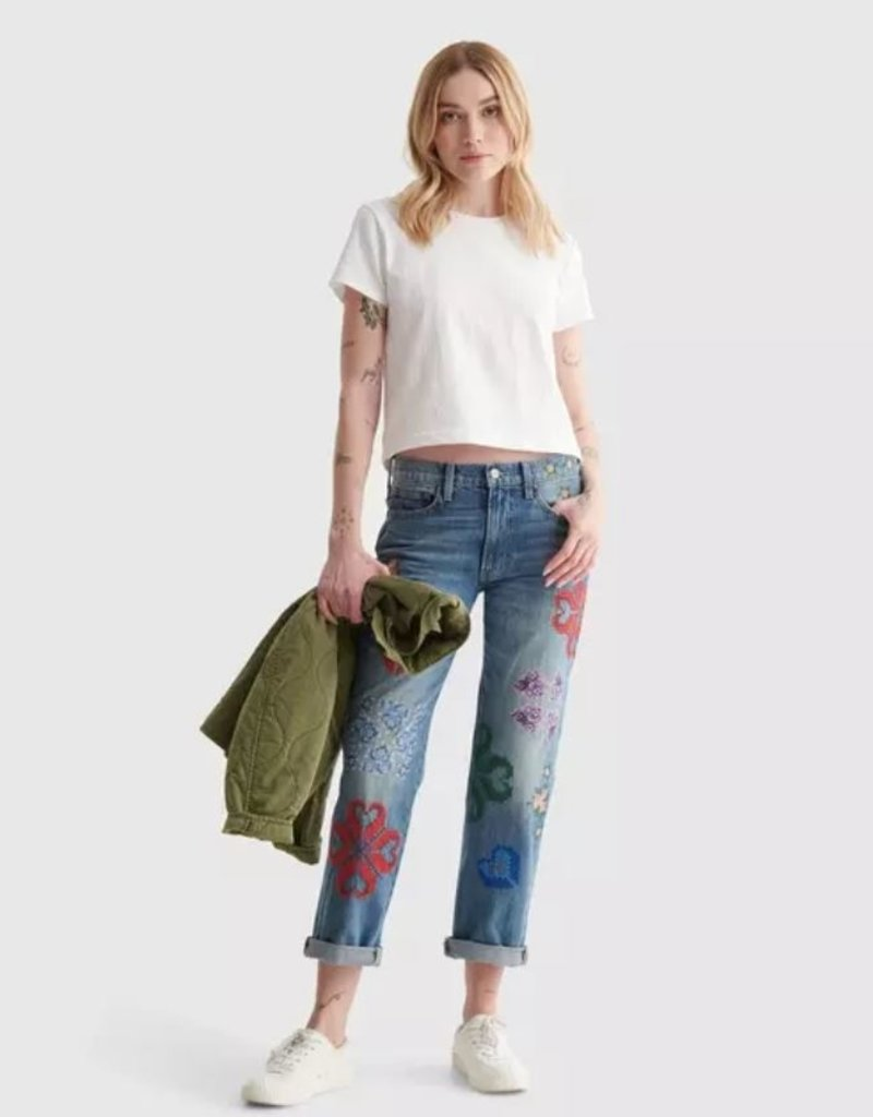 Lucky Brand Clothing Lucky Brand Embroidered Boyfriend Jean