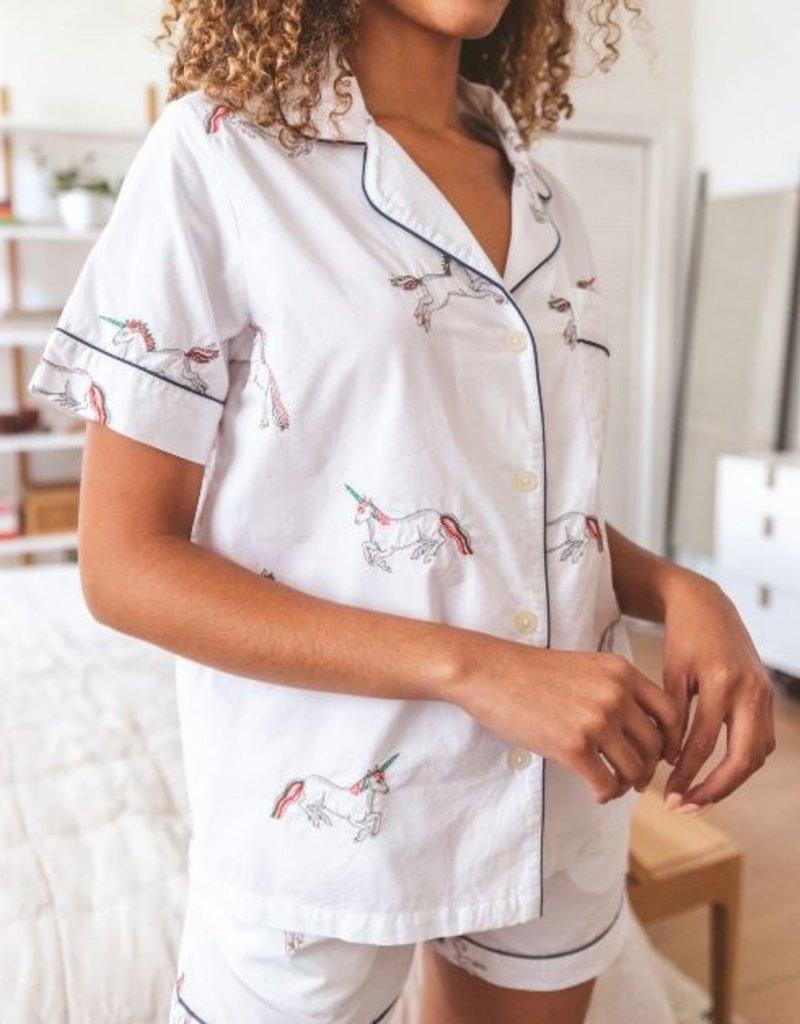 PrintFresh PrintFresh Embroidered Unicorn Shorts PJ Set