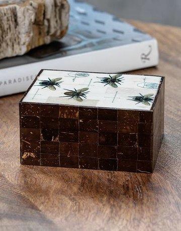 Zodax Bee Design Coconut & Bone Wood Box