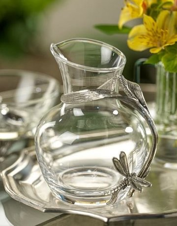 Zodax Dragonfly Pewter & Glass Carafe