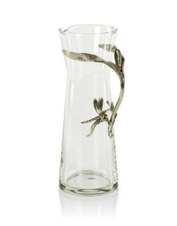 Zodax Dragonfly Pewter & Glass Pitcher