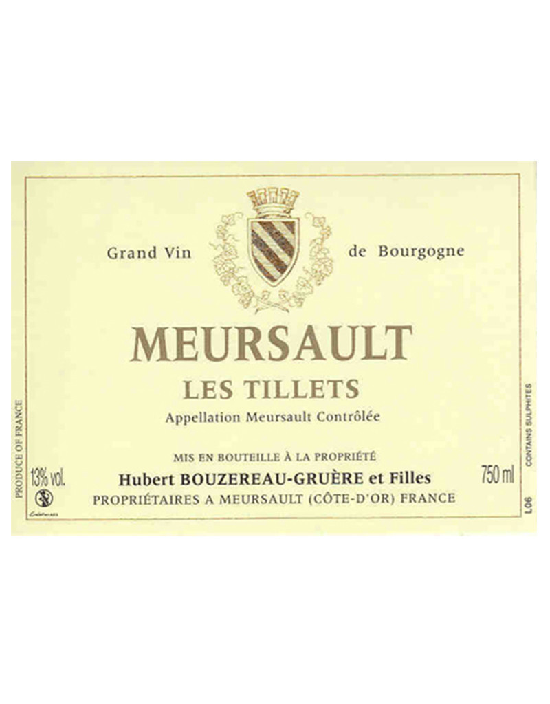 Domaine Hubert Bouzereau-Gruere et Filles 2015 'Les Tillets' Meursault, Burgundy, France