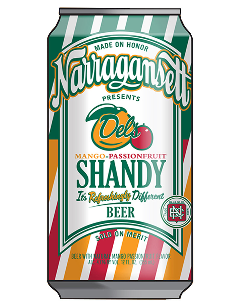 Narragansett Brewing Co. Narragansett Seasonal Del's Shandy Mango Passion Beer, Single Can 16oz