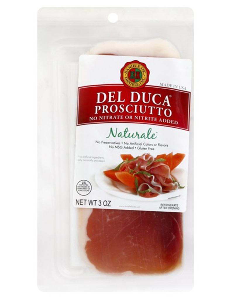 Del Duca Sliced Naturale Prosciutto, 3oz [No artificial ingridients, Gluten free]