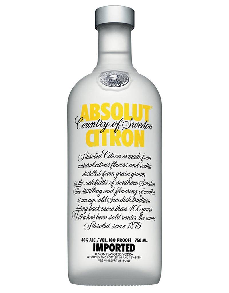 Absolut Distelleries Absolut Citron Vodka, Sweden