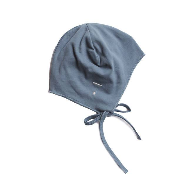 Gray Label Baby Hat w strings blue grey
