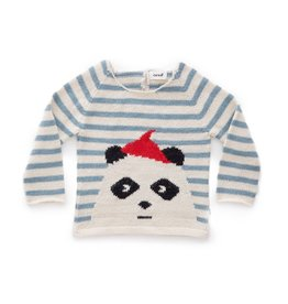 Oeuf Striped Panda Sweater