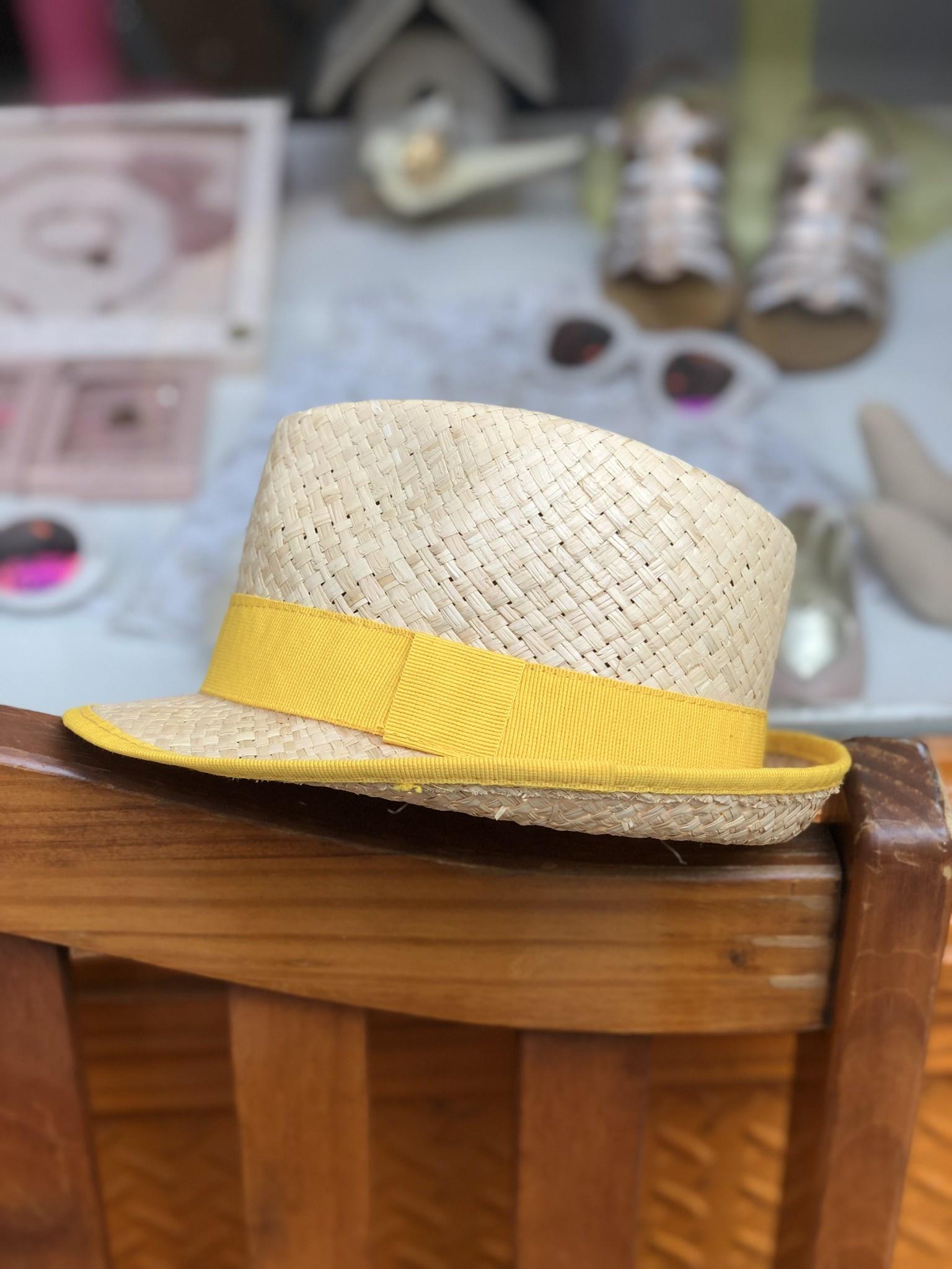 Nathalie Verlinden Bright Yellow Straw Hat