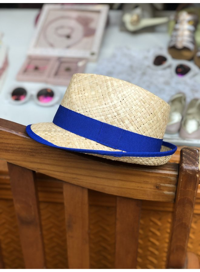 Royal Blue Straw Hat