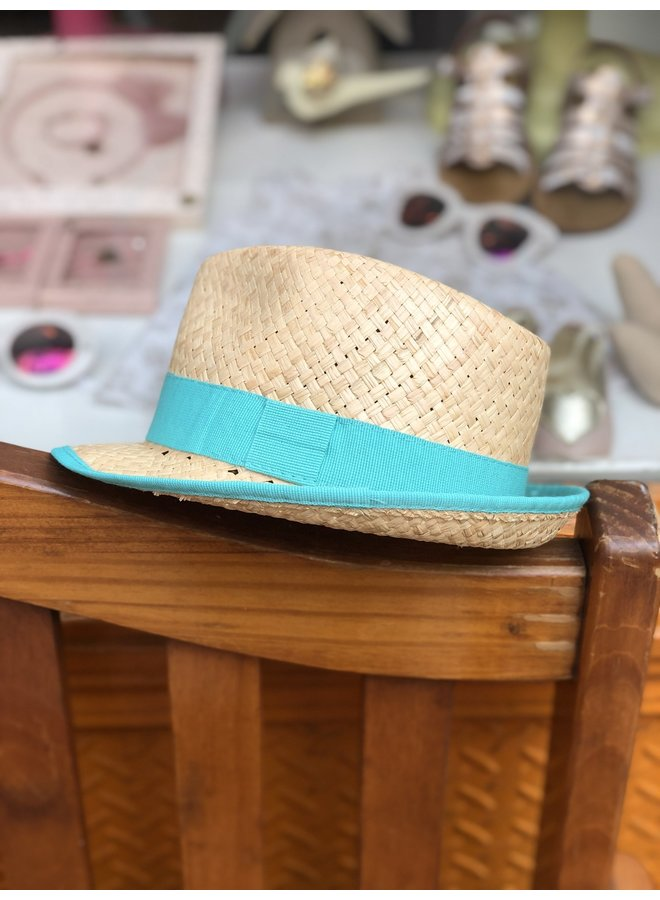 Teal Straw Hat