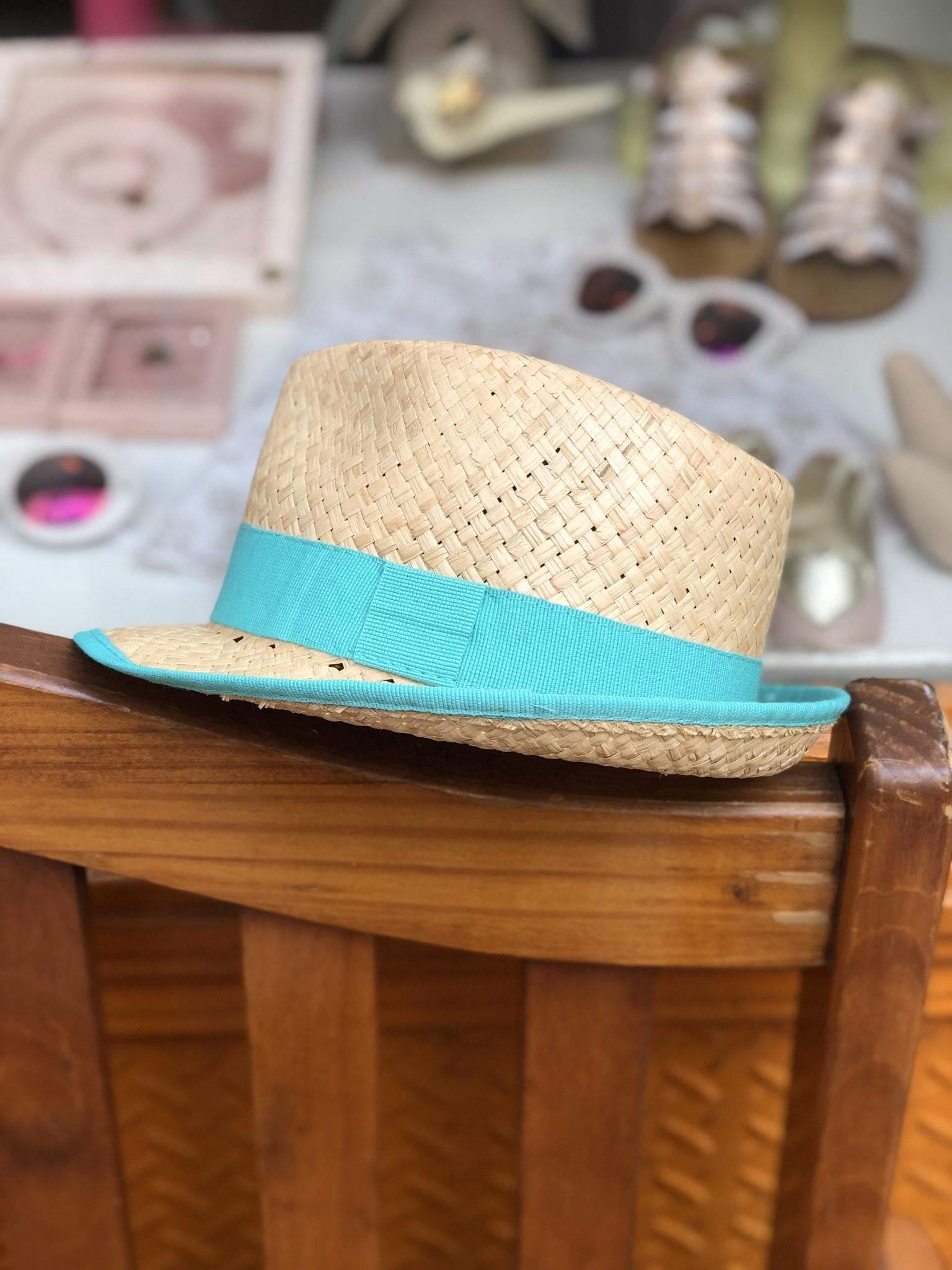 Nathalie Verlinden Teal Straw Hat