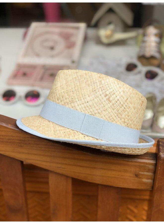 Grey Blue Straw Hat
