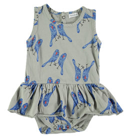 Picnik Grey Blue Bird Romper
