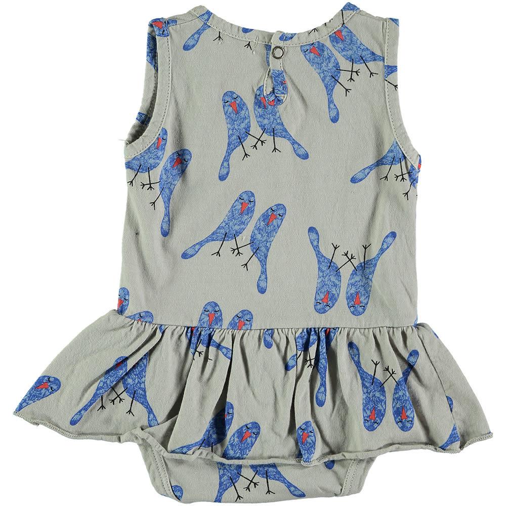 Picnik Grey Blue Bird Romper