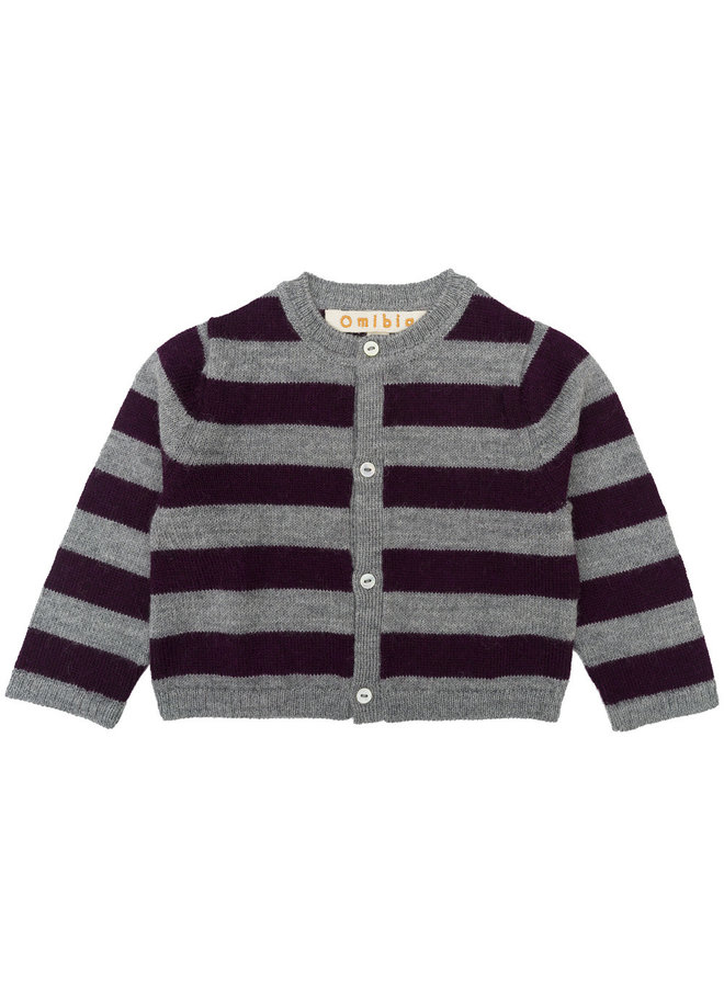 Reyes Cardigan Grey/Cherry