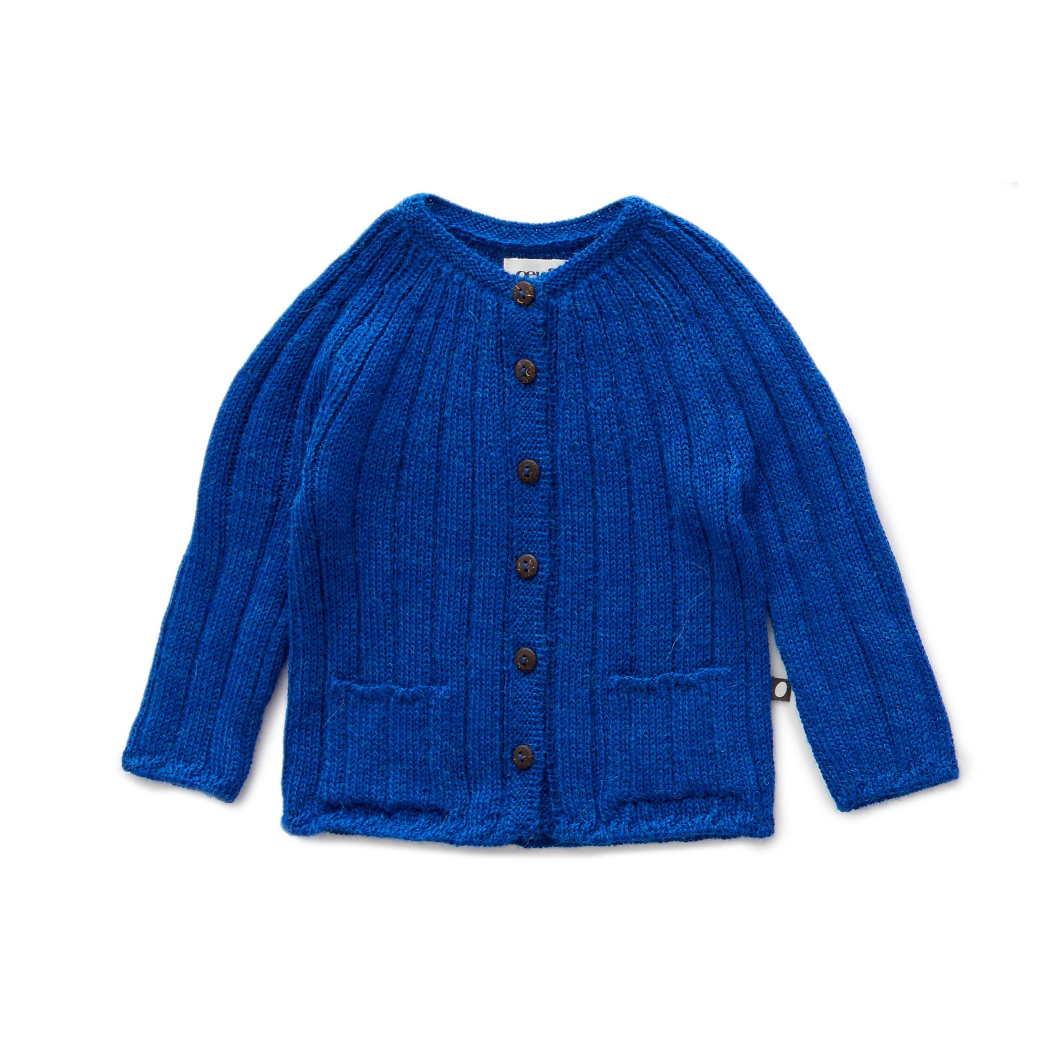 Oeuf Blue Ribbed Cardigan