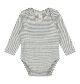Gray Label Baby LS Onesie Grey/Cream Stripe