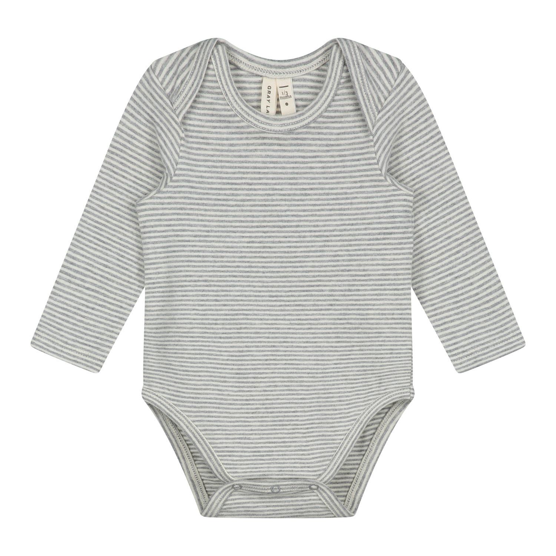 Gray Label Baby LS Onesie Grey/Cream Stripe