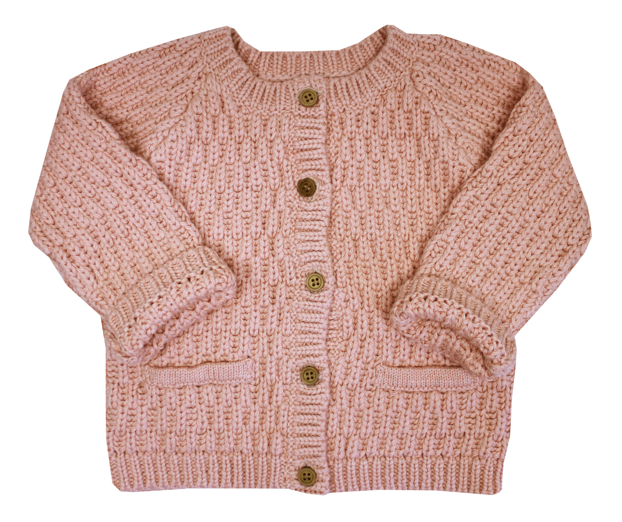 la petite collection Waffle Cardigan Pink