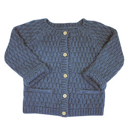 la petite collection Waffle Cardigan Blue
