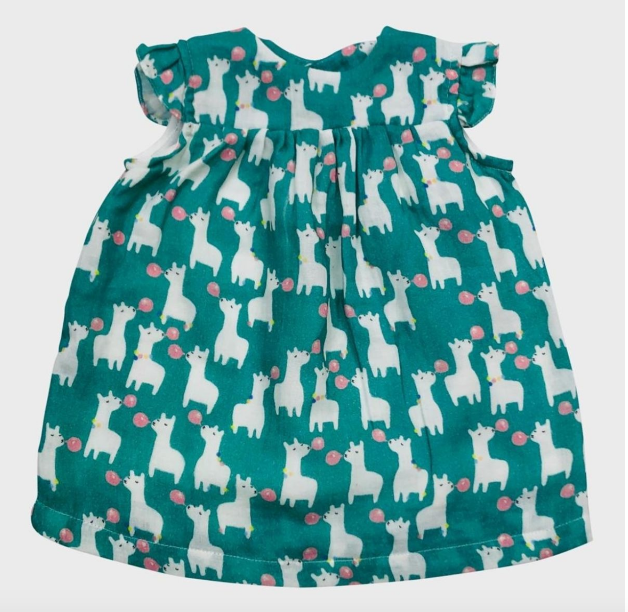 Mademoiselle à Soho Dorothy Dress Llama Green