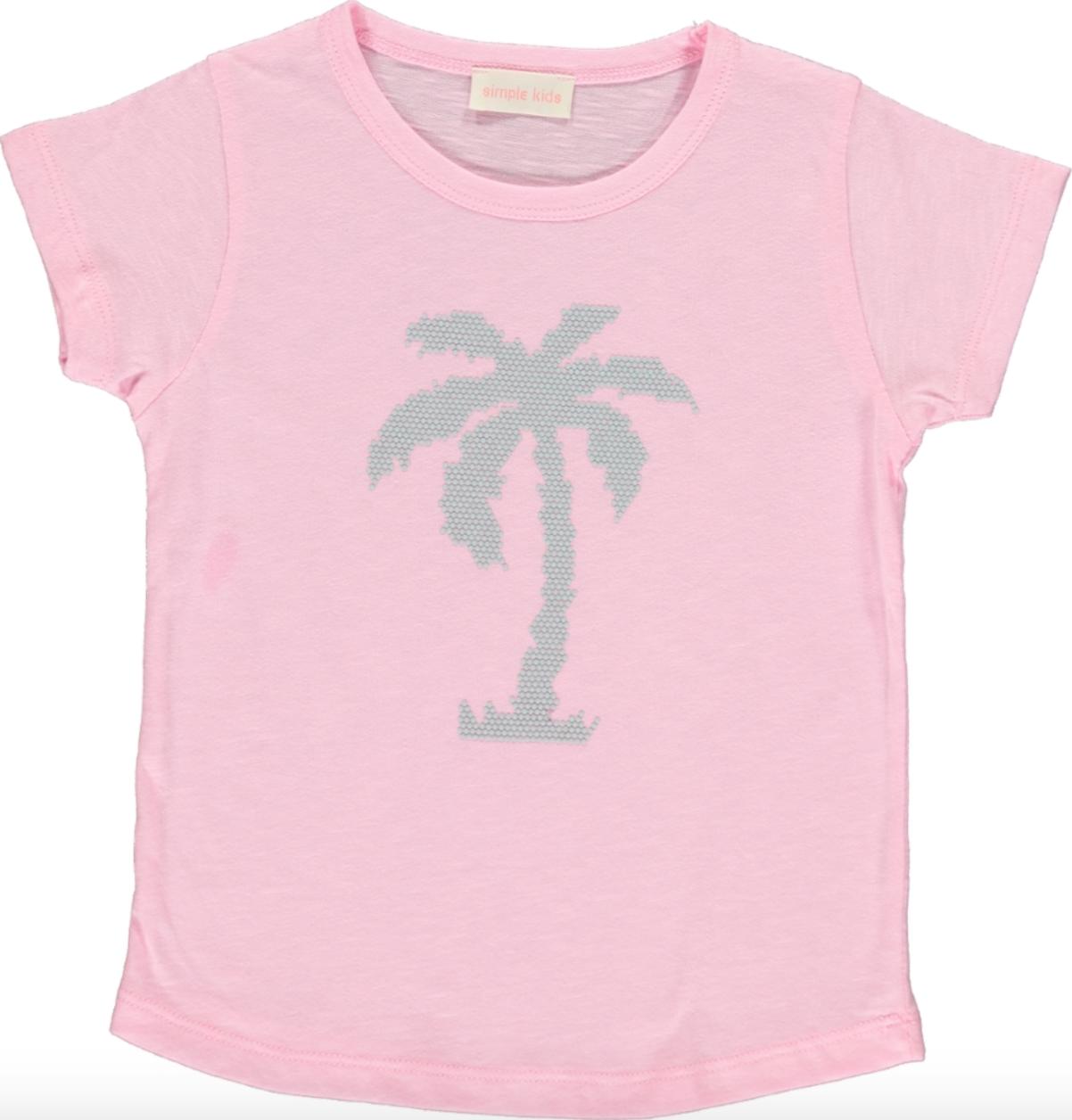 Simple Kids Palm Tshirt Pink