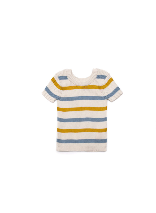 Stripped knitted blue/yellow
