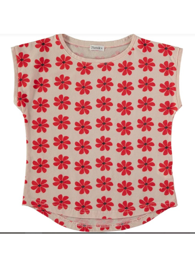 T Shirt Red Flowers