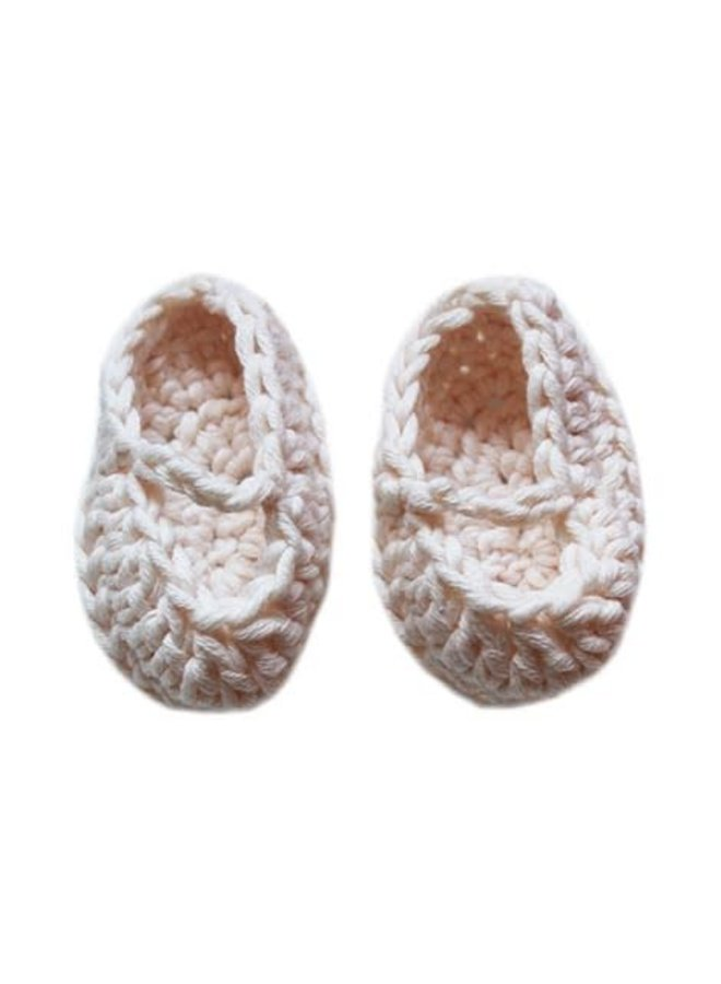Crochet White Doll Slippers