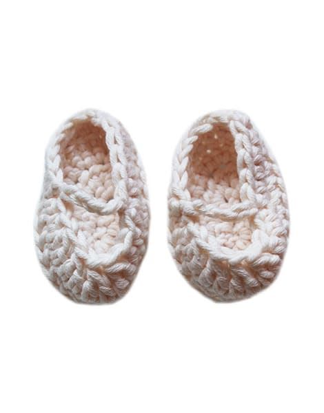 minikane Crochet White Doll Slippers