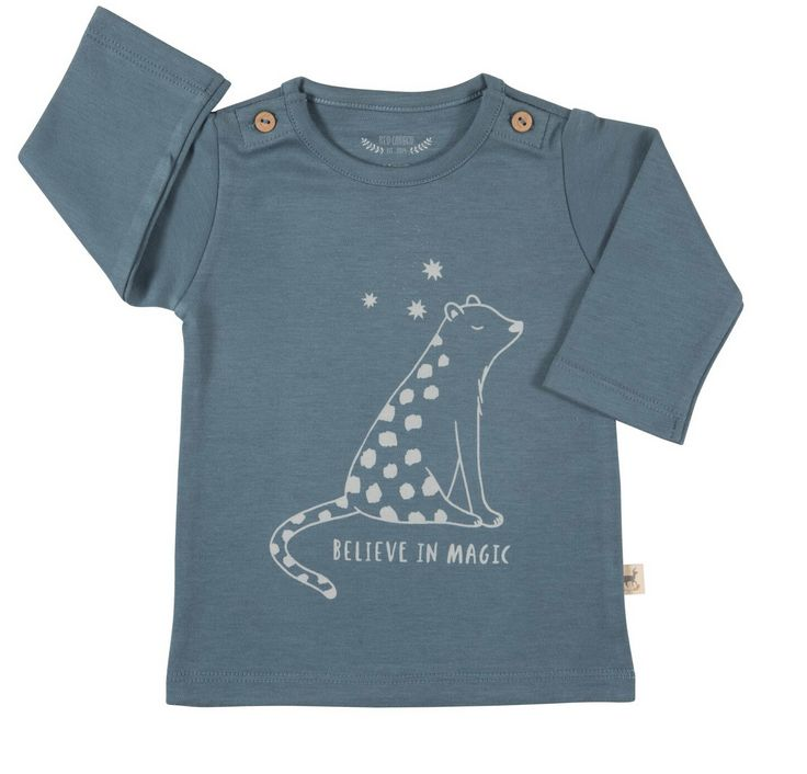 Red Caribou Buttons Tee-Shirt Blue Leopard
