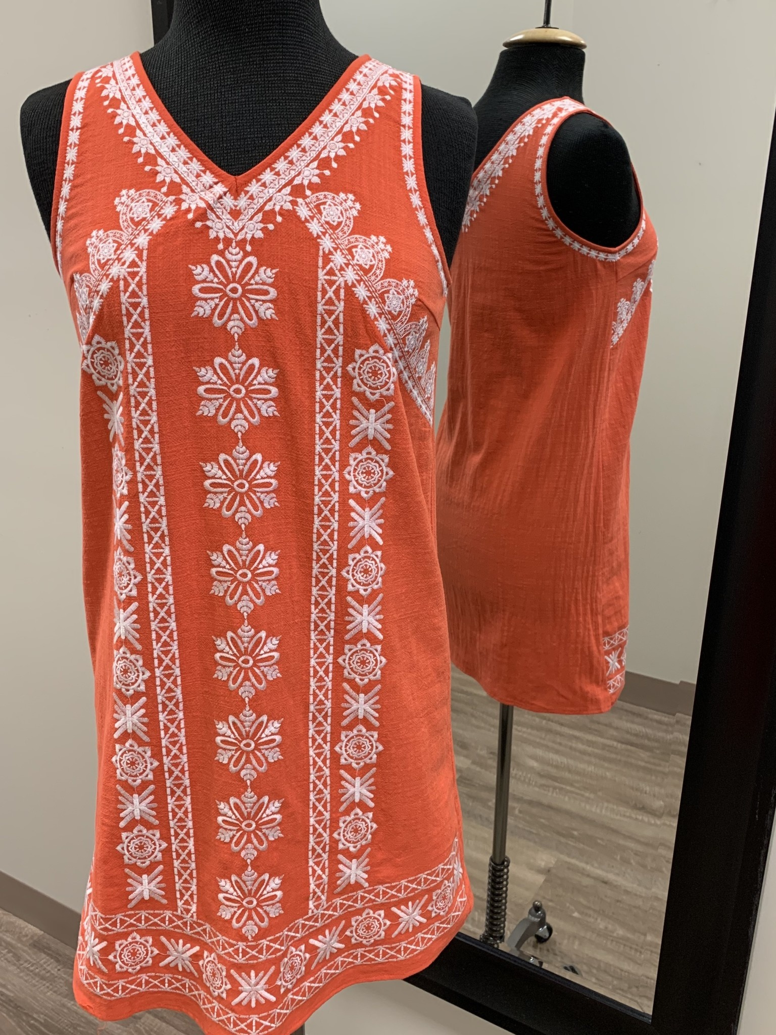 THML Embroidered V Neck Dress