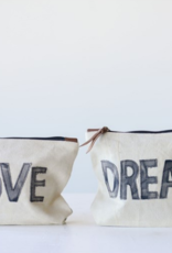 Creative Co-Op Love/Dream Canvas Pouch
