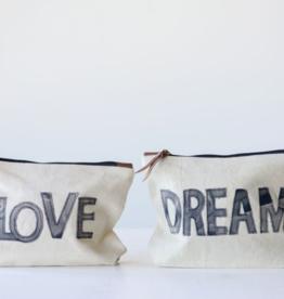 Creative Co-Op Love/Dream Canvas Pouch