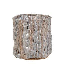 Indaba Leather Chindi Pot